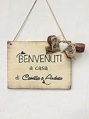 Targa in legno di benvenuto : Benvenuti a casa di. - idea regalo personalizzata