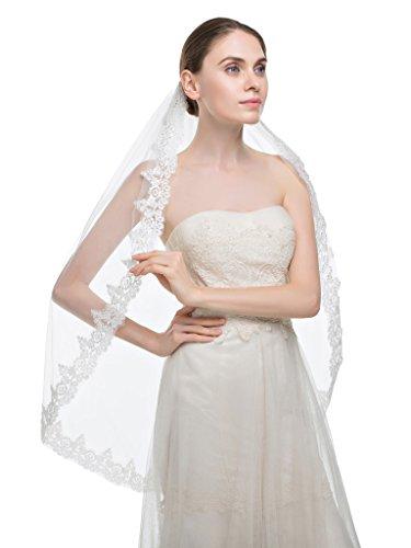 Schleier Hochzeit Tier-soft-tüll Eine (Edith qi 1 Schicht Fingerspitze Länge Waltz Brautschleier mit Pailletten Silber Lined Beaded Edge)