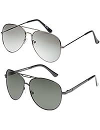 Vast Combo Of 2 Polycarbonate (Unbreakable) Lens UV Protection Unisex Aviator Sunglasses (GUNSMOKE_GUNGREY)