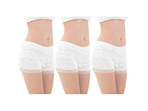 Bel Avril Lot de 3 Culotte de Sécurité Short /Sous Vêtement Short de la dentelle Pour Femme Fille en Grande Taille, en Modal 3*Blanc