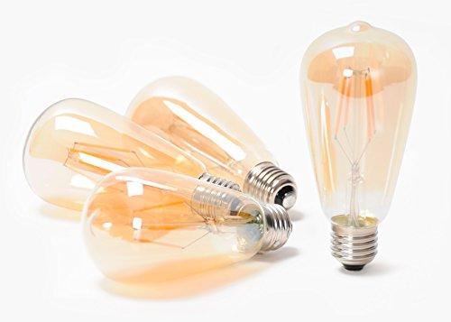 Bernstein Glas-modell (Aura von teknub–set-of-4dimmbar ST64Glühlampe Edison Retro Vintage 4Watt LED Filament Glühbirne mit getöntes Bernstein Glas Beschichtung @ 2200K, E27, die [Energieklasse A + +])