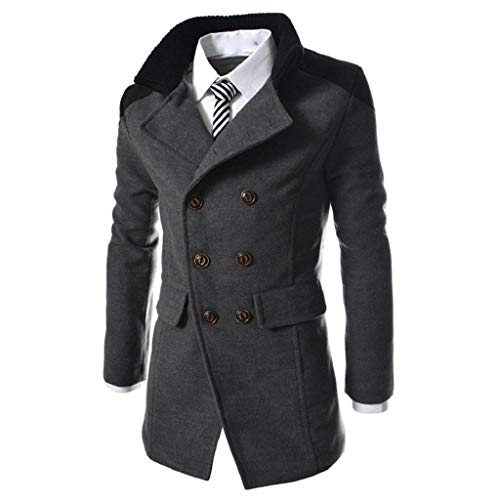 abc5063838cdb4 SHOBDW Uomo Inverno caldo Cappotti spessi Solido manica lunga risvolto  Giacca a vento Giacca a vento
