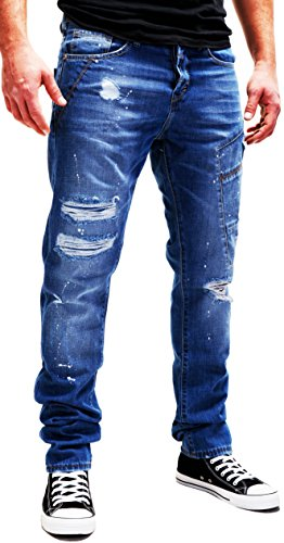 Merish Jeans Destroyed Herren Paint Used-Look Blue Blau Jeanshose Hose Denim Chino Modell J2081 Blau W32