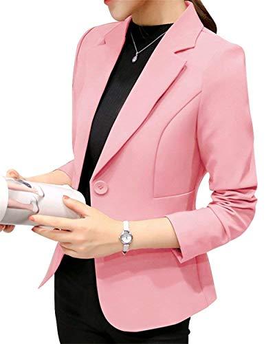 Betrothales Corto Blazer Donna Tailleur Elegante Formale Fashion Ufficio Business Bavero Giacca da Maniche Lunghe Camicia Cappotto Outerwear