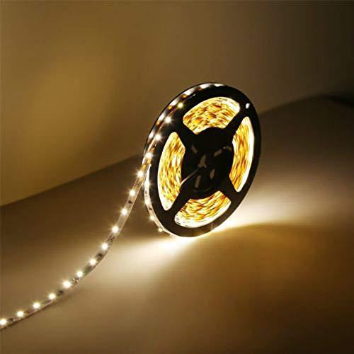 Prevently 5M LED Streifen LED Stripes Band lichtband 12V Lichtstreifen 300 3528 LED für Decke, Deko, Küche, Innenraum usw. (Warmes weißes Licht)