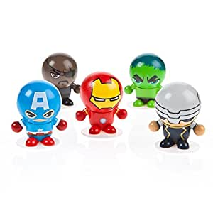 Superhero DC or Marvel Bouncing Ball Heads Party Bags Fillers- 5 Random Figures in Each Pack