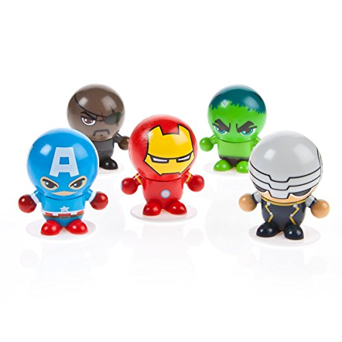 Superhero DC or Marvel Bouncing Ball Heads Stocking Fillers- 5 Random Figures in Each Pack