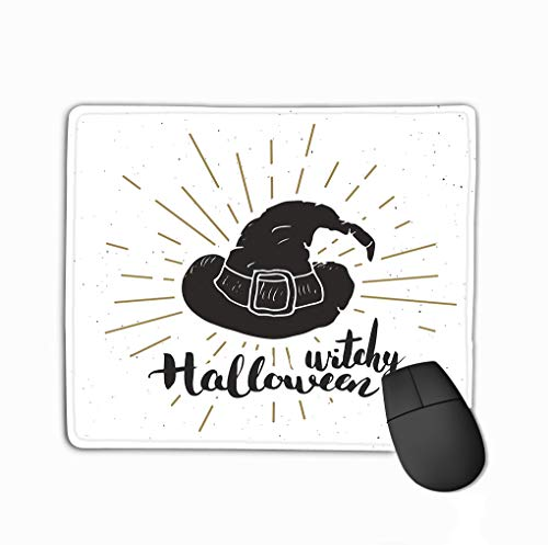 Customized Rectangle Mousepad,Cute Gaming Mouse Pad Mat 11.81 X 9.84 Inch Halloween Greeting Card Vintage Label Hand Drawn Sketch Witch hat Grunge Textured Retro Badge Typography Design Print (Halloween Sketche Für Kinder)