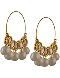 Zephyrr Fashion Traditional Gold Tone Hoop Earrings With Kundan Meenakari Pearls For Girls And Women