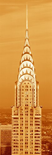 Panoramic Images - This is a sepiatone Close up of The Chrysler Building at Sunset. It is The View from 42nd Street and 5th Avenue. Photo Print (91,44 x 30,48 cm)