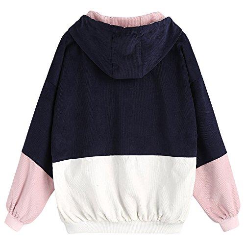 CharMma Damen Jacke Lässig Farbblock Kordsamt Trikot mit Reißverschluss Locker Kapuzenjacke Blau 2