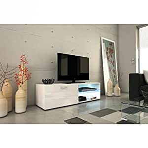 kora meuble tv 120cm avec clairage led blanc brillant cuisine maison. Black Bedroom Furniture Sets. Home Design Ideas