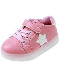 Tefamore Estrellas Niño colorido emisores de luces LED zapatos casuales zapatos de piel brillante niños y niñas de calzado deportivo de moda