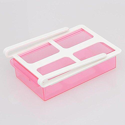 Slide Küche Kühlschrank Gefrierschrank Space Saver Kühlschrank Aufbewahrung Regal 4Farbe, rose, 20*14.5*7cm - 4 Regal Space Saver