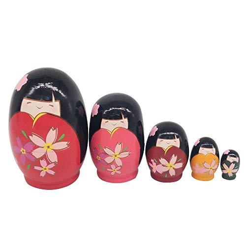 Muñecas apilables de Madera Rusa de Matryoshka (5 Unidades),Muñecas Matrioska Rusas Muñecas Anidación de Madera con Pintado a Mano para niños Nursery Room Decor