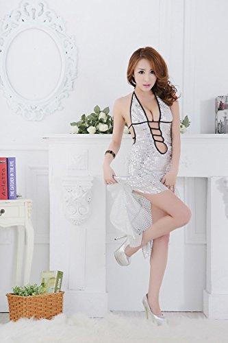 Shangrui Femminile Paillettes Long Tail Halter Multicolore Alta Qualità Bretelle Racy Underwear W633 Argento