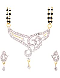 ZenemeWomen's Pride American Diamond Gold Plated Mangalsutra Pendant with Chain and Earrings for Women