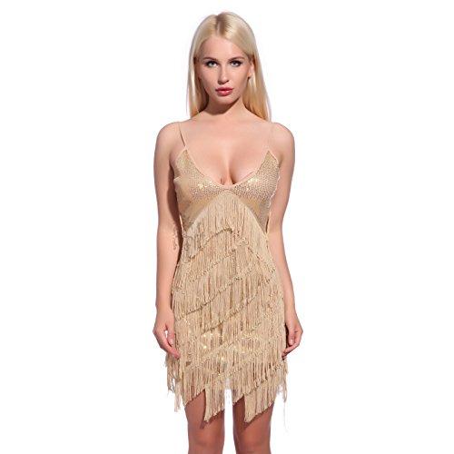 Maboobie Charleston Fransen Pailletten Kleid Kostüm 201920s für Party Hochzeit Bailes Größe M, Gold (Charleston Kostüm Party)