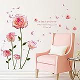 Tophappy Wall Stickers Fiori Grandi Rosa Rose Adesivi Murali Camera da Letto Soggiorno Removibile Impermeabile Adesivo da Parete/Finestra/Vetro Famiglia Arte Decorazione Murales