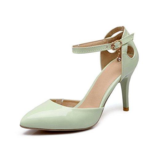 VogueZone009 Damen Blend-Materialien Spitz Zehe Stiletto Schnalle Rein Pumps Schuhe Grün
