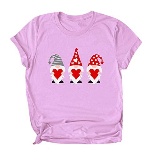 KIMODO Damen T-Shirt Love Drucken Valentinstag Bluse Liebe Frauen Tuniken Casual Schriftzug Slim Short Sleeve Top Kurzarm Blusen Patchwork Sommer Lose Shirt Oversize Oberteile (E-Rosa, Large)