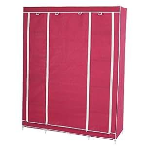 Armoire penderie pliante tissu de camping 173x135x45cm rouge cuisine maison - Acheter armoire penderie ...