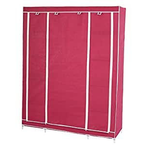 Armoire penderie pliante tissu de camping 173x135x45cm ~ rouge