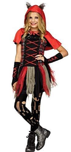 Fancy Me Mädchen Teen Rot Schwarz Schottenkaro Bissig Böse Unheimlich Rot Kapuze Film Buch Wolf Halloween Kostüm Kleid Outfit 10-14 Jahre - Rot, 10-12 Years