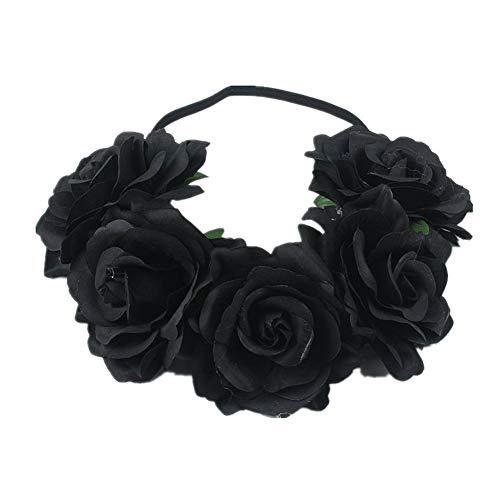 FairOnly Künstliche Schwarze Rose, Blumengirlande, Rosenform, Kranz, Haarreif, Seidenrose, Hochzeit, Auto, Dekoration für Halloween, Schwarz
