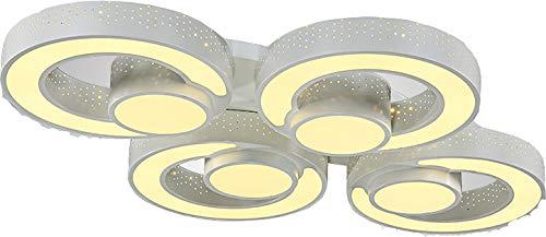 LED Deckenleuchte 2036 mit Fernbedienung Lichtfarbe/ Helligkeit einstellbar Acryl-Schirm weißlackierte Metallrahmen durchbohrte Design Energieeffizienzklasse: A+ (2036-4 60w) LED Wohnzimmerleuchte Kronleuchte Pendelleuchte DeckenlampeDeckenstrahler LED Deckenleuchte Hängeleuchte Hängelampe LED lampe LED Leuchte Beleuchtung Einbauleuchte Wandleuchte Spot Lüster