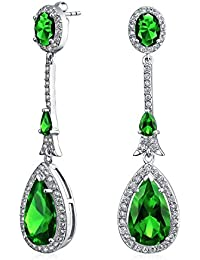 Bling Jewelry Simulated Emerald CZ Pave Teardrop Earrings Rhodium Plated Brass