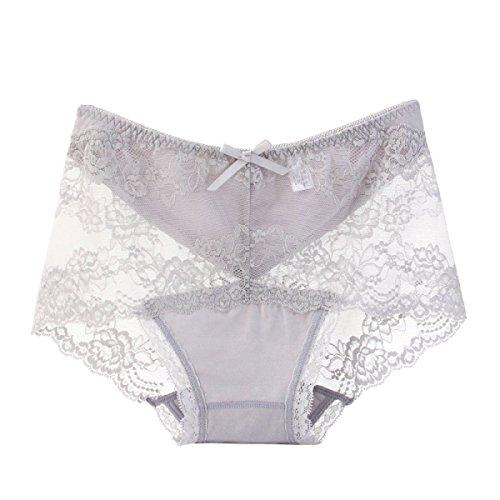 POKWAI Donne Bikini Lace Mutandine Low-Rise Hipster Confortevole Cotone Biancheria Intima A4