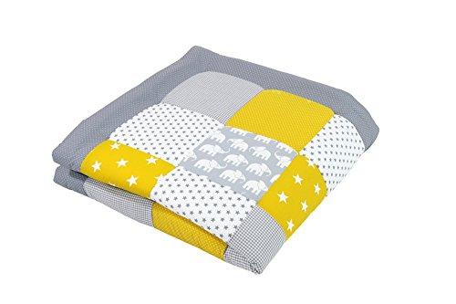 Alfombra para gatear de ULLENBOOM ® con elefantes amarillo (manta para bebé...