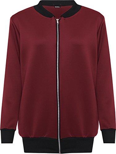 new-women-plus-plain-bomber-jacket-long-sleeve-zip-ladies-elasticated-top-12-28-22-24-wine