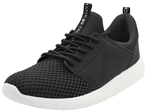 CrossHatch Neu Herren Turnschuhe Leichte Laufschuhe Sneakers Atmungsaktives Mesh Schuhe Schwarz