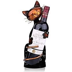 Tooarts Casier à Vin Casier à Bouteille Mignon en Métal Sculpture Décoration Artisanat de Décoration (Chat)