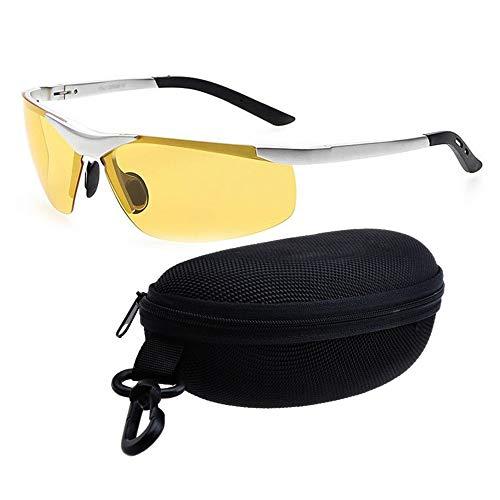 QYF Polarisierte Sonnenbrille Aviator-Sonnenbrille für Herren, HD-Nachtsicht-Schutzbrille, Blendschutz, UV400-Schutz, Reduziert die Belastung der Augen und Kopfschmerzen