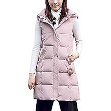 3cc3e3150 Chaleco Acolchado Mujer Elegante Largos Otoño Invierno Pluma Camisolas  Encapuchado Termica Espesor Sin Mangas Informales Fashion