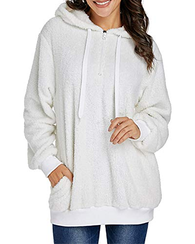WAVENI Solid Pocket Drawstring Fluffy Hoodie Damen Quarter Zip Sweatshirt, Polyester, weiß, Large -