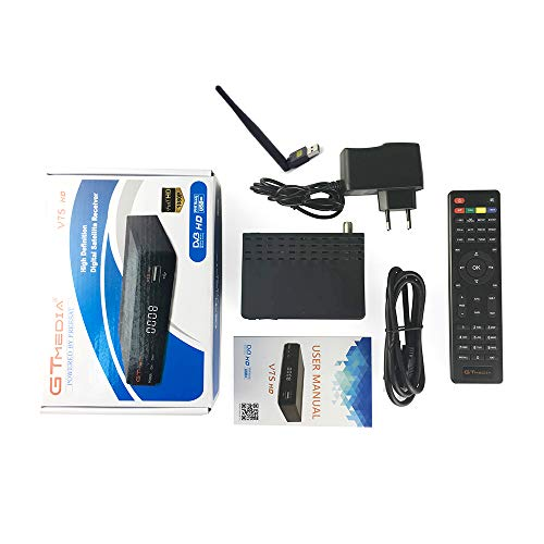 Gt media v7s dvb-t2 decoder digitale terrestre dvb-s2 decoder satellitare ricevitore con antenna usb wifi h.265 avs+ fta 1080p full hd supporto pvr, youtube, powervu, dre & biss key,v7shd