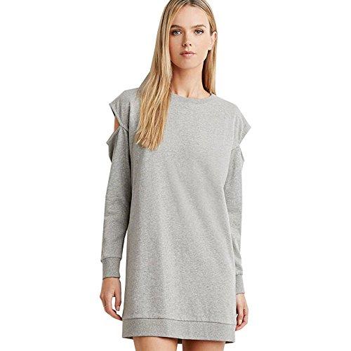 Uranus Damen Ausgeschnitten Lange Ärmel Kalte Schulter Sweatshirt Kleid Rock Cocktail (Kostüm Muster Toga)