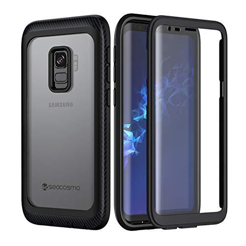 seacosmo Cover Samsung Galaxy S9, 360 Gradi Rugged Custodia S9 Antiurto Trasparente Case con Protezione Integrata dello Schermo, Nero