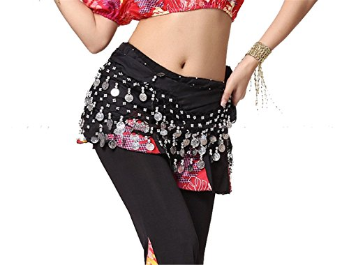 Dance Accessories Lndian Dance Tribal Danse du ventre costume Hip écharpe 3 Rangées 128 Coins Lengthened Black
