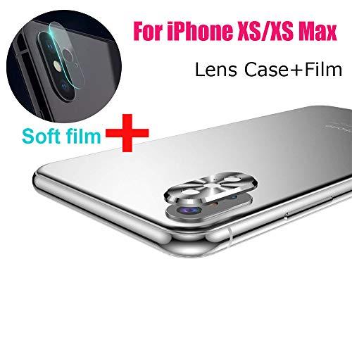 QINPIN Hinterer Kamera Objektiv-Abdeckung Schutz aus Metall + weich temperierter Folie für iPhone XS/XS max Silber