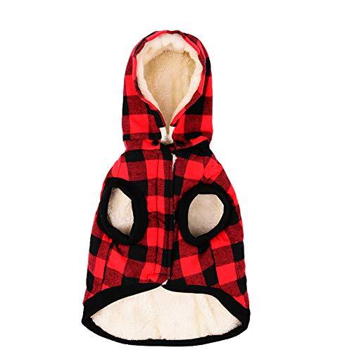 Tineer Ropa para perros grandes Mascota Suéter Ropa de rejilla para perros Cálido perrito extraíble Abrigos con capucha lindo Chaqueta a cuadros Sudaderas con capucha 6 tamaños (M, Red)