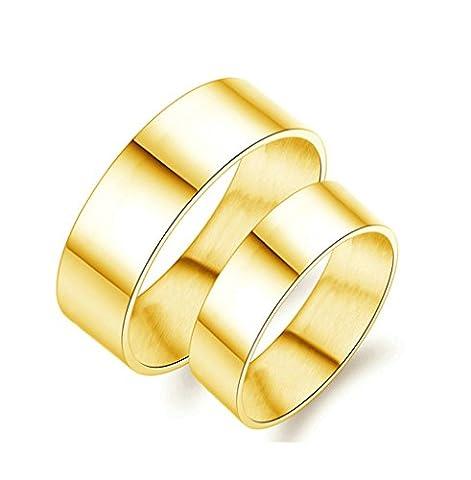 Epinki Bijoux Alliance 8MM/6MM Acier Inoxydable Lisse Mariage Engagement Bague Ensemble pour Couple Or Haute Brillant 2Pcs Femme Taille 56.5 & Homme Taille 61.5