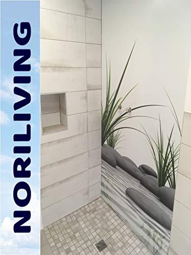 Zen-bad (Veredeln & Stylen Sie Ihr Bad neu! Wir helfen Ihnen! Duschrückwand - Zen (Spa) Steine Gras, 1 Platte mit 90x200cm, Rückwand, Bad-Verkleidung, Fliesenersatz, schimmelfrei)