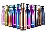Willceal Edelstahl Doppelwand Vakuumisolierte Wasserflaschen 500 ml, auslaufsicher halten kalte und heiße Getränke Flasche für Outdoor-Sport Camping (Rose Gold)