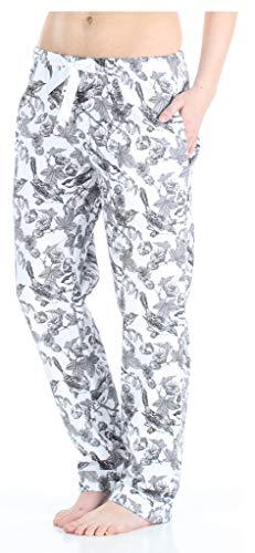 PajamaMania Damen Pyjama aus Baumwollflanell PJ Pants - Weiß - X-Large -