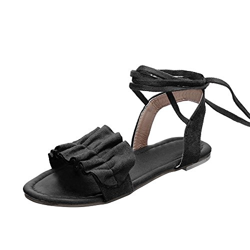 Sandales Femmes Plates,LANSKIRT Chaussures Romaines Volants Sandales à Bout Rond Et à Bride Croisée Sandales Basses Dames Tongs Arena Chaussures